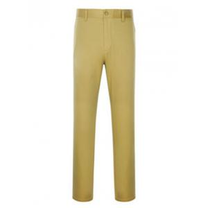Zipper Fly Simple Straight Leg Slimming Pants - Khaki - 32