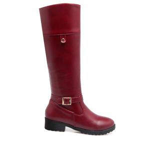 Zipper Buckle Chunky Heel Knee-High Boots