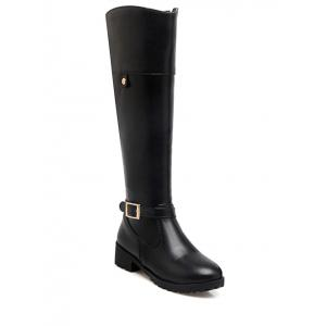 Zipper Buckle Chunky Heel Knee-High Boots - Black - 39