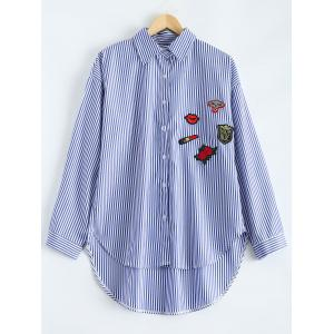 High-Low Striped Embroidered Shirt