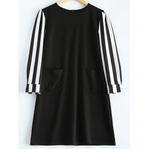 Striped Long Sleeve A-Line Dress - Black - 3xl