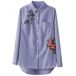 Striped High Low Dragonfly Embroidered Shirt - Blue And White - S