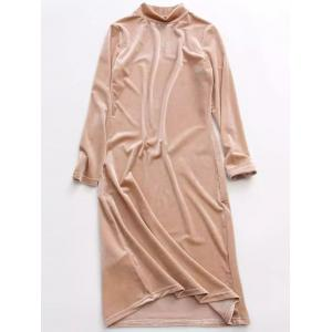 Stand Neck Long Sleeve Velvet Dress - Yellowish Pink - One Size