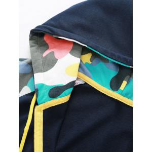 Camouflage Splicing Embroidered Hooded Zip-Up Hoodie - CADETBLUE M