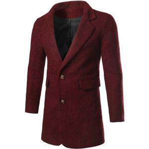Single Breasted Flap Pocket Tweed Coat - Wine Red - 3xl