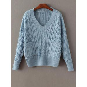 Cable Knit Double Pocket V Neck Sweater - Blue - One Size