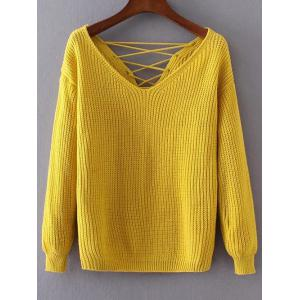 Lace-Up Double-V Loose Sweater - Yellow - One Size