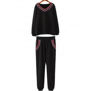 Plus Size Fleece Sweatshirt With Pants Gym Suit