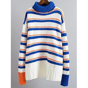 Turtle Neck Pullover Jumper Striped Sweater