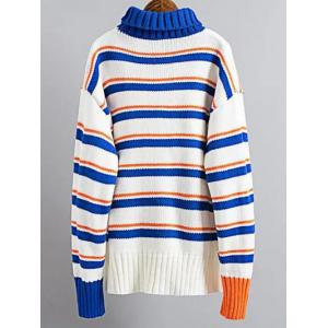 Turtle Neck Pullover Striped Sweater - BLUE/WHITE ONE SIZE
