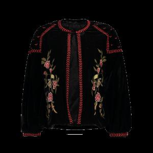Puffed Sleeve Floral Embroidered Velvet Jacket