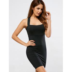 Backless Halter Club Sheath Dress - BLACK S