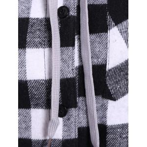 Plaid Pocket design Hoodie boutonné - Blanc et Noir 4XL