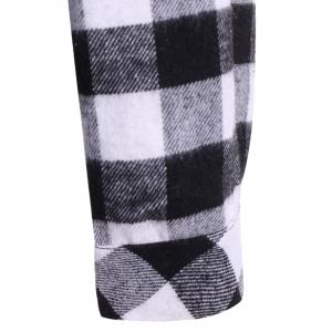 Plaid Pocket Design Buttoned Hoodie - WHITE/BLACK 3XL