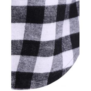 Plaid Pocket design Hoodie boutonné - Blanc et Noir 3XL