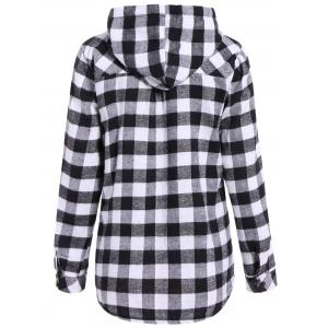 Plaid Pocket Design Buttoned Hoodie -