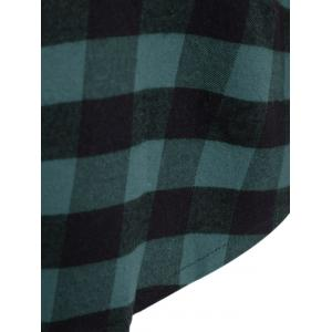 Plaid Pocket Design Buttoned Hoodie - BLACK AND GREEN 5XL