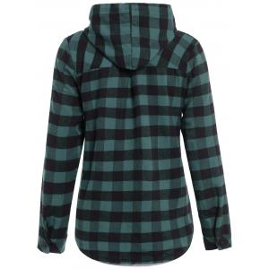 Plaid Pocket Design Buttoned Hoodie - BLACK AND GREEN 3XL