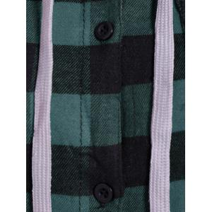 Plaid Pocket Design Buttoned Hoodie - BLACK AND GREEN 2XL
