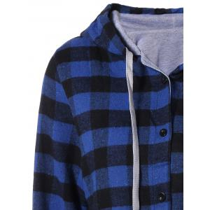 Plaid Pocket Design Buttoned Hoodie - BLUE AND BLACK 2XL