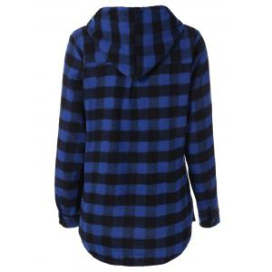 Plaid Pocket Design Buttoned Hoodie - BLUE AND BLACK XL