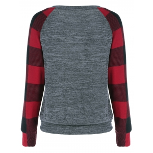 Plaid Trim Single Pocket Sweatshirt -