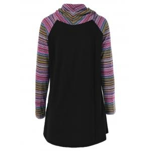 Cowl Neck Colorful Striped T-Shirt -
