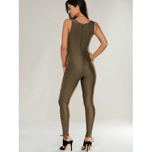 V Neck Lace Up Jumpsuit - BROWN GREEN XL