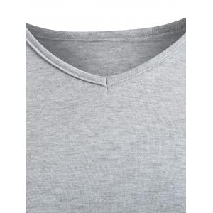 Long Sleeve Lace Panel Plus Size Tee - GRAY 3XL
