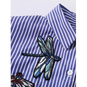 Striped High Low Dragonfly Embroidered Shirt - BLUE AND WHITE M