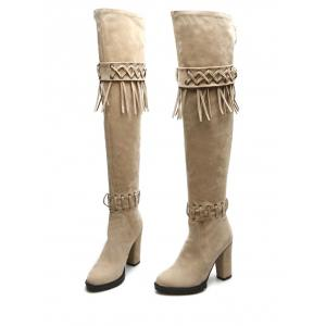 Chunky Heel Fringe Criss-Cross Thigh Boots - BEIGE 37