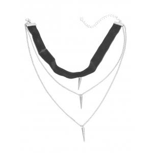 Layered Rivet Velvet Choker Necklace - BLACK