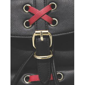 Criss-Cross Eyelet Buckles PU Leather Backpack -