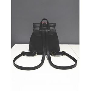 Criss-Cross Eyelet Buckles PU Leather Backpack - BLACK