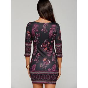 Paisley Keyhole Neck Mini Dress with Sleeves - BLACK 2XL