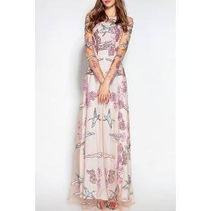 See Thru Embroidered Tulle Wedding Maxi Dress