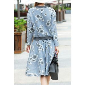Floral Sweatshirt with A Line Skirt - GRAY S