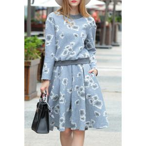 Floral Sweatshirt with A Line Skirt