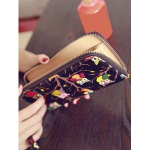 Zip Around Owl Print PU Leather Wallet -