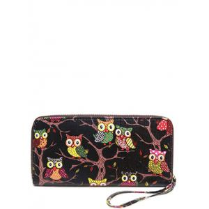 Zip Around Owl Print PU Leather Wallet