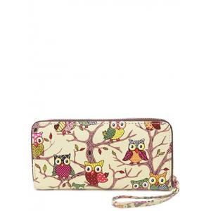 Zip Around Owl Print PU Leather Wallet - Beige