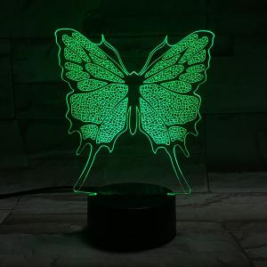 Home Decor 3D Illusion Stereo Color Changing Butterfly LED Night Light -