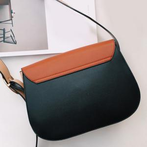 Concise PU Leather Color Block Crossbody Bag -