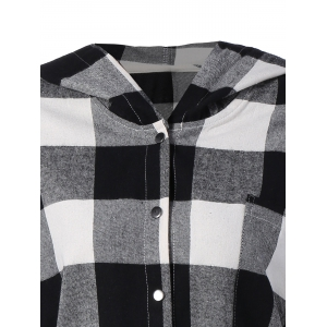 Plaid Hooded Loose Fitting Blouse -