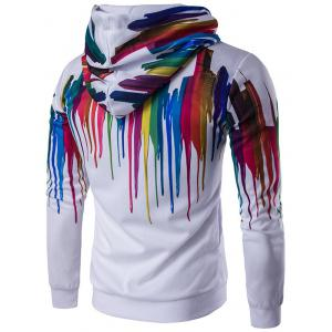 Long Sleeve Paint Dripping Printed Zippered Hoodie - WHITE 2XL