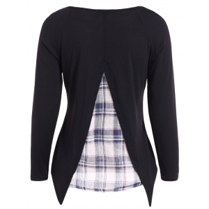 Casual Long Sleeve Faux Twinset Plaid T-Shirt -