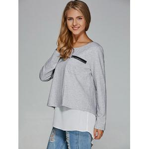 Chiffon Splicing Back Slit T-Shirt - GREY/WHITE S