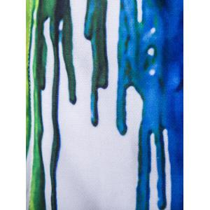 Zip Up Long Sleeve Paint Dripping Printing Hoodie - WHITE 2XL