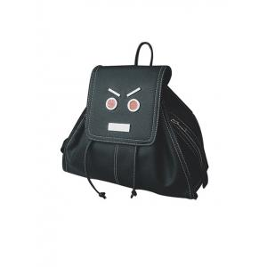 Textured Leather Drawstring Metals Backpack - BLACK
