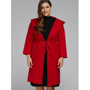 Hooded Plus Size Coat with Pockets -